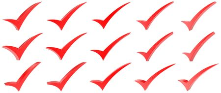 Red correct mark symbol collection on white background
