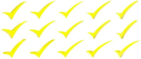 Yellow correct mark symbol collection on white background