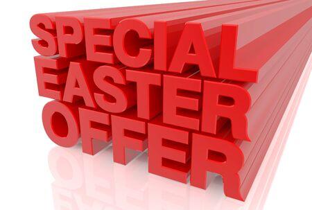 Offre spéciale de Pâques mot sur fond blanc rendu 3d