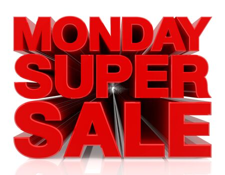 MONDAY SUPER SALE word 3D rendering on white background 写真素材