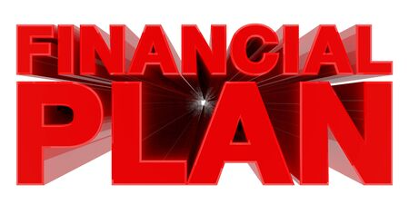 FINANCIAL PLAN word on white background 3d rendering