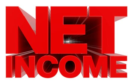NET INCOME word on white background 3d rendering