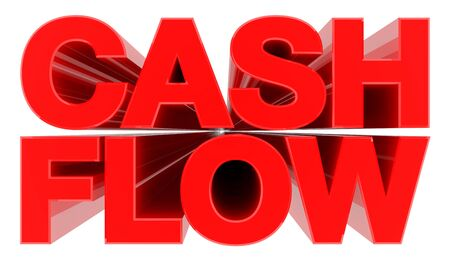 CASH FLOW word on white background 3d rendering