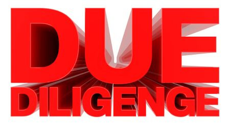 DUE DILIGENCE word on white background 3d rendering