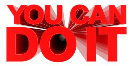 YOU CAN DO IT word on white background 3d rendering
