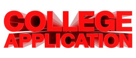COLLEGE APPLICATION word on white background 3d rendering Stock fotó - 131796366