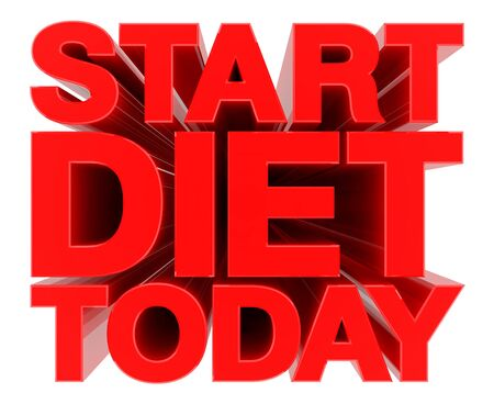 START DIET TODAY word on white background 3d rendering