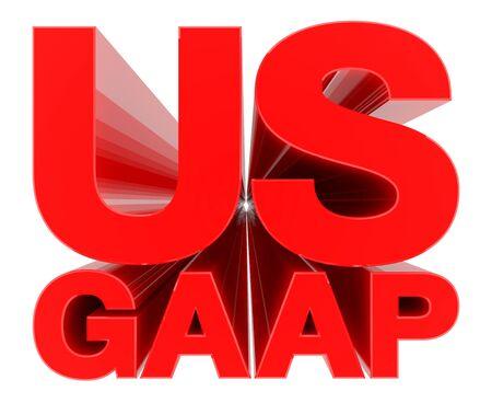 US GAAP word on white background 3d rendering