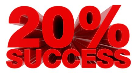 20 % SUCCESS word on white background 3d rendering