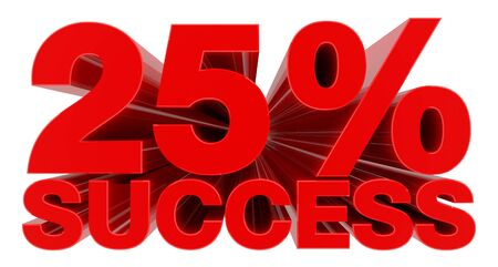 25 % SUCCESS word on white background 3d rendering