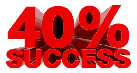 40 % SUCCESS word on white background 3d rendering
