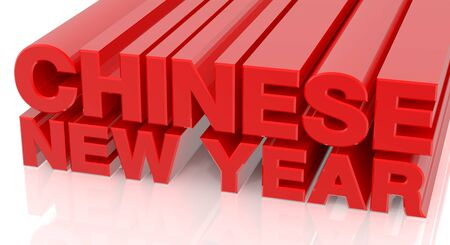 3D CHINESE NEW YEAR word on white background 3d rendering