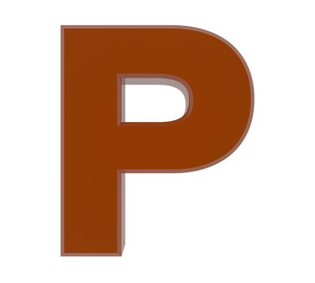 3d brown letter P collection on white background