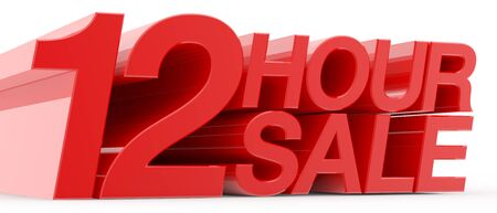 12 HOUR SALE word on white background illustration 3D rendering Reklamní fotografie - 131801048