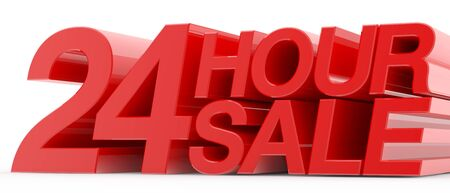 24 HOUR SALE word on white background illustration 3D rendering