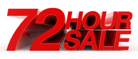 72 HOUR SALE word on white background illustration 3D rendering