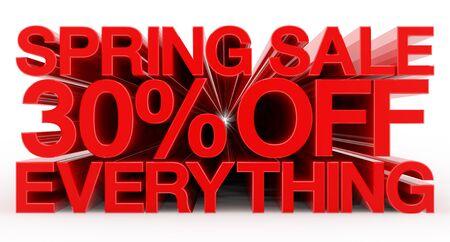 SPRING SALE 30 % OFF EVERYTHING red word on white background illustration 3D rendering Banco de Imagens