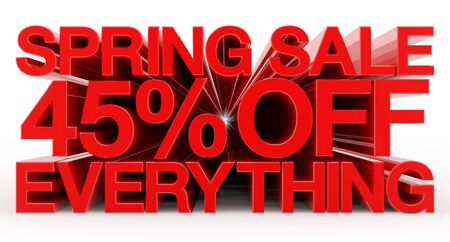 SPRING SALE 45 % OFF EVERYTHING red word on white background illustration 3D rendering 스톡 콘텐츠