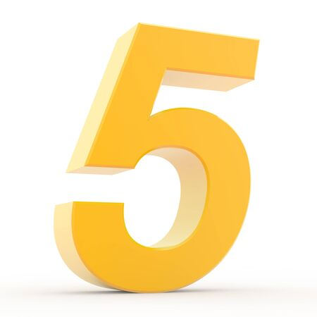 Number 5 yellow gold collection on white background illustration 3D rendering Zdjęcie Seryjne