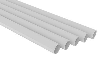 Tubes PVC pipes on white background illustration 3D rendering Stock Photo