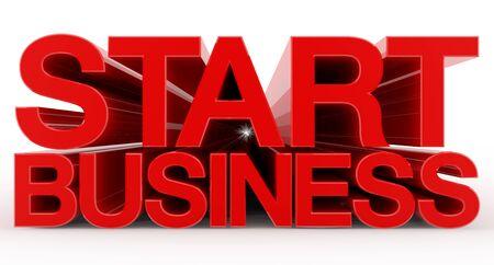 START BUSINESS word on white background illustration 3D rendering Stok Fotoğraf