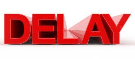 DELAY word on white background illustration 3D rendering 스톡 콘텐츠