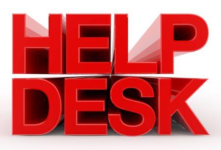 HELP DESK word on white background illustration 3D rendering Stok Fotoğraf