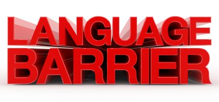 LANGUAGE BARRIER word on white background illustration 3D rendering