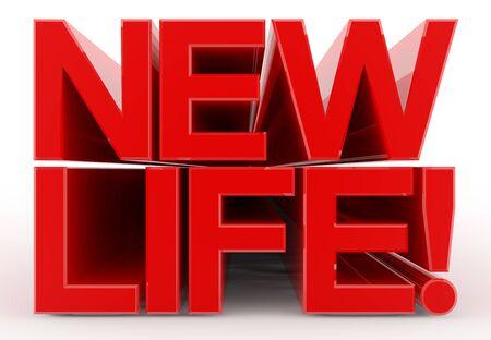 NEW LIFE word on white background illustration 3D rendering Stok Fotoğraf