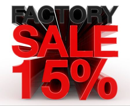 FACTORY SALE 15 % word on white background illustration 3D rendering
