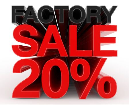 FACTORY SALE 20 % word on white background illustration 3D rendering
