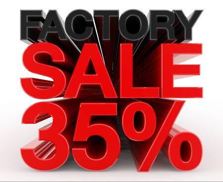 FACTORY SALE 35 % word on white background illustration 3D rendering Banco de Imagens