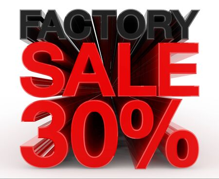 FACTORY SALE 30 % word on white background illustration 3D rendering