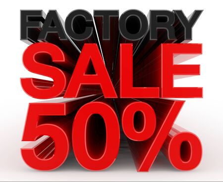 FACTORY SALE 50 % word on white background illustration 3D rendering