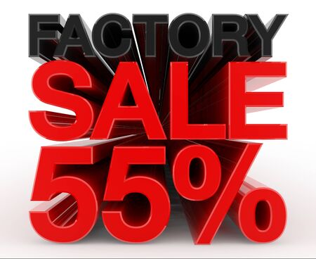 FACTORY SALE 55 % word on white background illustration 3D rendering