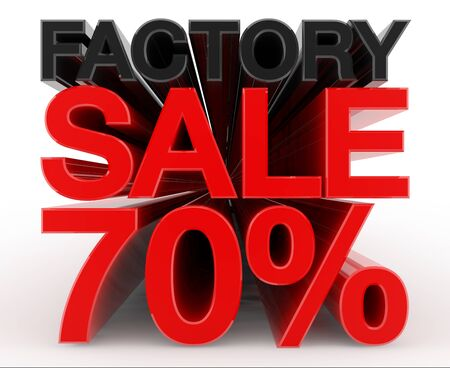 FACTORY SALE 70 % word on white background illustration 3D rendering