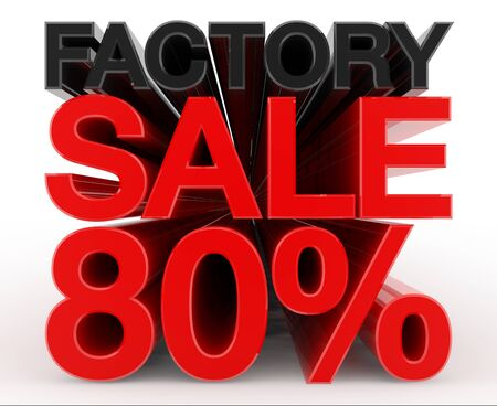 FACTORY SALE 80 % word on white background illustration 3D rendering