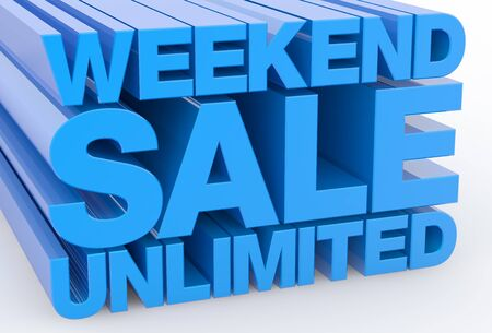 WEEKEND SALE UNLIMITED word on white background illustration 3D rendering