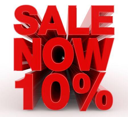 SALE NOW 10 % word on white background illustration 3D rendering Banco de Imagens