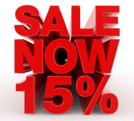 SALE NOW 15 % word on white background illustration 3D rendering Banco de Imagens