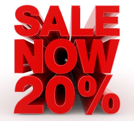 SALE NOW 20 % word on white background illustration 3D rendering Stock Photo