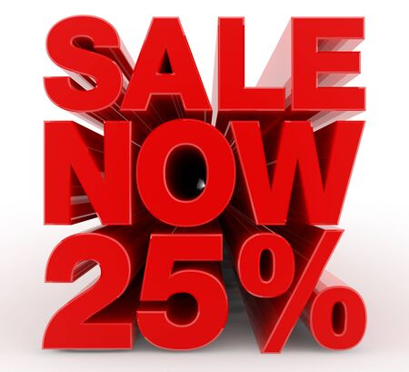 SALE NOW 25 % word on white background illustration 3D rendering Banco de Imagens