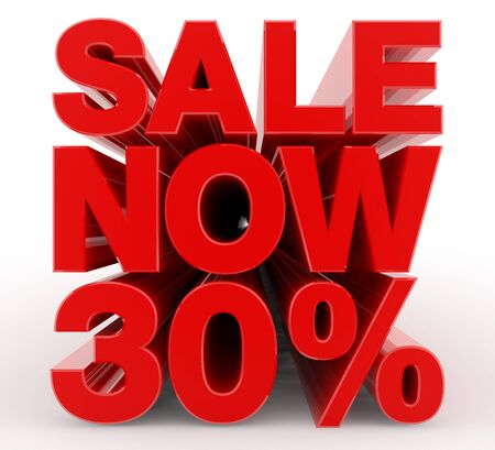 SALE NOW 30 % word on white background illustration 3D rendering Banco de Imagens