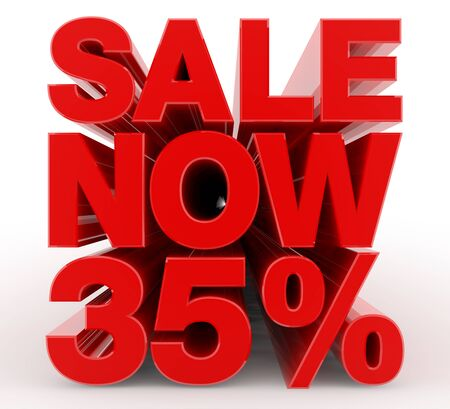 SALE NOW 35 % word on white background illustration 3D rendering