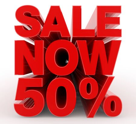 SALE NOW 50 % word on white background illustration 3D rendering