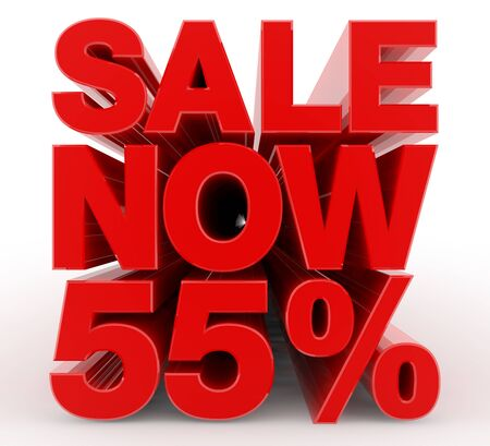 SALE NOW 55 % word on white background illustration 3D rendering