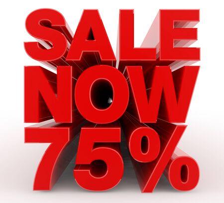 SALE NOW 75 % word on white background illustration 3D rendering Banco de Imagens
