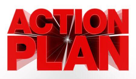 ACTION PLAN word on white background illustration 3D rendering Stok Fotoğraf