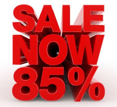 SALE NOW 85 % word on white background illustration 3D rendering Banco de Imagens