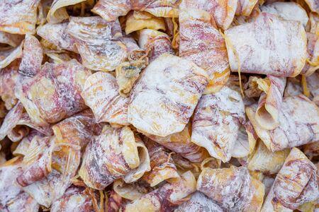 Dried Squid at street food market in thailand Stok Fotoğraf